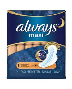 Always Maxi Pads, Overnight, Extra Heavy Flow, Wings, 20/bx, 6 bx/cs