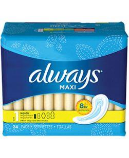 Always Maxi Pads, Regular, Unscented Wings, 24/bx, 12 bx/cs