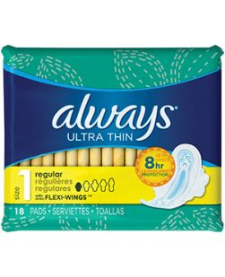 Always Ultra Thin Long Pads, Super, Unscented, Wings, Color Signal, 16/bx, 12 bx/cs