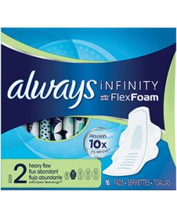 Always Infinity Overnight Pads, Size 4, FlexiWings, Unscented, 19/bx, 6 bx/cs