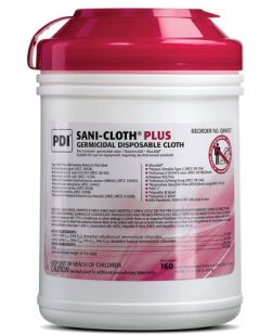 Plus Germicidal Disposable Cloth, Large 6 x 6¾, 160/canister, 12 canisters/cs (30 cs/plt) (020370) (US Only)