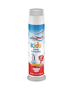 Aquafresh® Kids Three Stripe Pump Fluoride Toothpaste, Bubble Mint flavor, 2+ years, 4.6 oz. tube, 24/cs (Available for sale in US only) GSK# 00303P (Products cannot be sold on Amazon.com or any other third Party sites)
